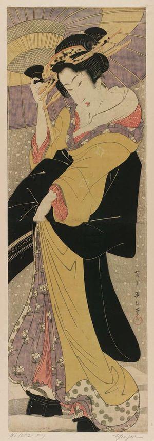 菊川英山: Beauty with Umbrella in Snow - ボストン美術館