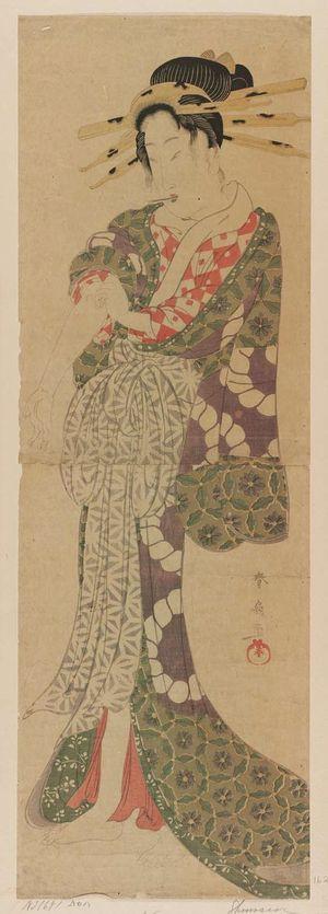 Katsukawa Shunsen: Courtesan Pushing Up Her Sleeve - Museum of Fine Arts