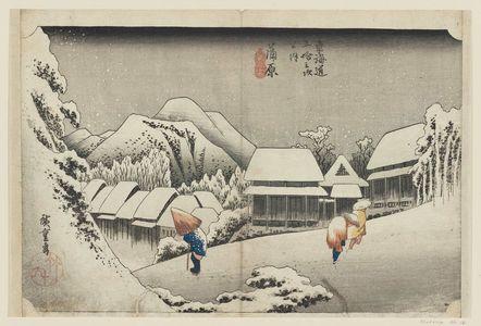 歌川広重: Kanbara: Night Snow (Kanbara, yoru no yuki), first state, from the series Fifty-three Stations of the Tôkaidô Road (Tôkaidô gojûsan tsugi no uchi), also known as the First Tôkaidô or Great Tôkaidô - ボストン美術館