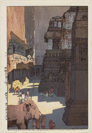 Yoshida Hiroshi: Kailasa Temple–Ellora Highlands (Erora, Kairasa tenpuru) - Museum of Fine Arts