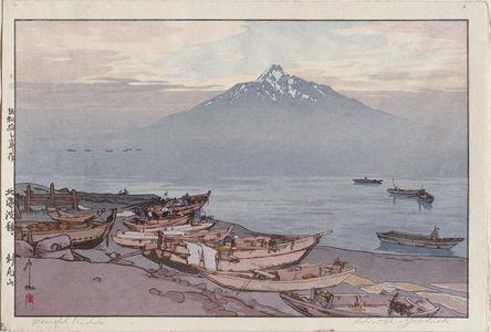 吉田博: Hok'kai Ha Sei. Rishiri San. Calm waves in Hok'kai (do). Rishiri Mountain. - ボストン美術館