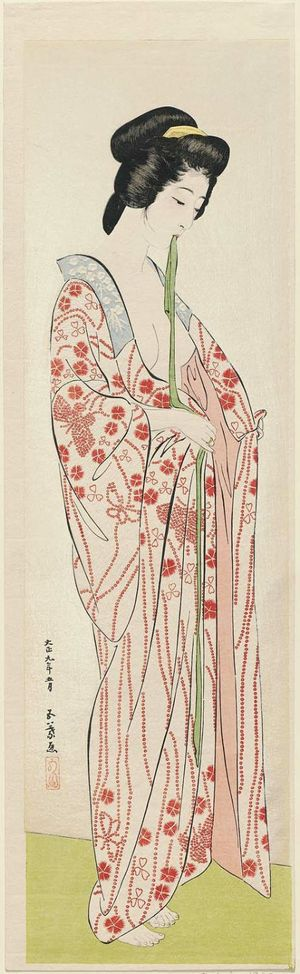 Hashiguchi Goyo: Woman Dressing in Long Undergarment - Museum of Fine Arts