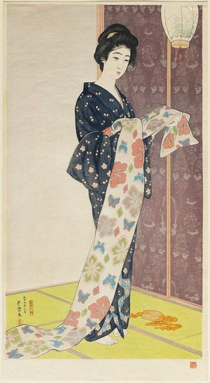 Hashiguchi Goyo: Girl in Summer Costume (Natsu yosooi no musume) - Museum of Fine Arts