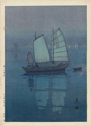 Yoshida Hiroshi: Sailboats: Night (Hansen, yoru), from the series Inland Sea (Seto Naikai shû) - Museum of Fine Arts
