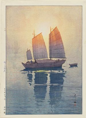 Yoshida Hiroshi: Sailboats: Morning (Hansen, asa), from the series Inland Sea (Seto Naikai shû) - Museum of Fine Arts