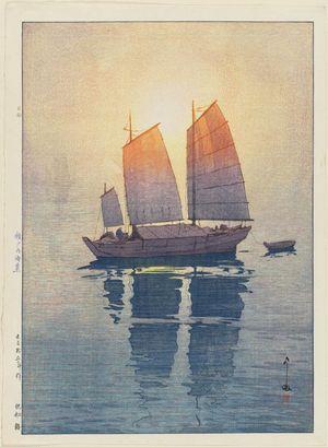 Yoshida Hiroshi: Sailboats: Morning (Hansen, asa), from the series Inland Sea (Seto Naikai shû) - Museum of Fine Arts