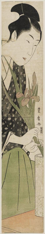 Utagawa Toyohiro: Young Man Arranging Iris in a Vase - Museum of Fine Arts
