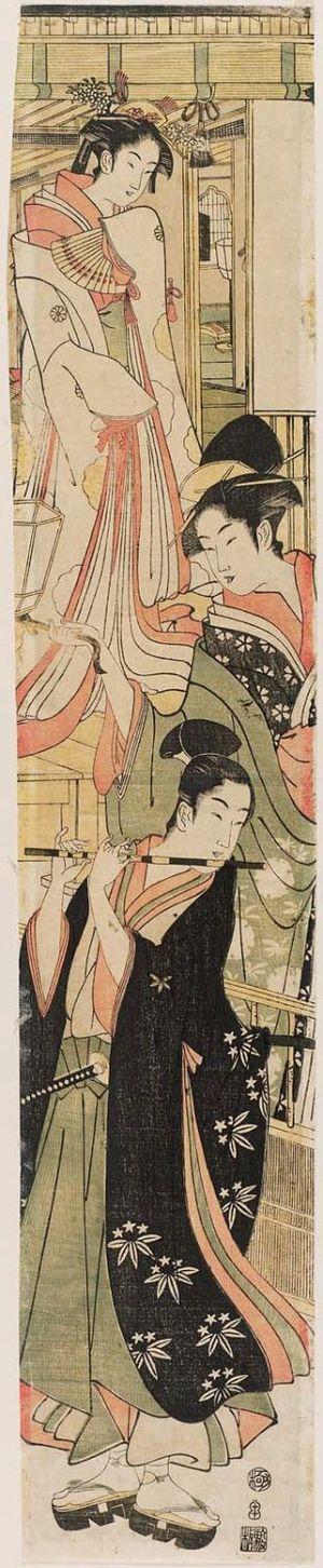 鳥高斎栄昌: Modern Version of the Story of Ushiwakamaru Serenading Jôruri-hime - ボストン美術館