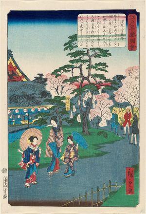 二歌川広重: Flower Garden at Sensô-ji Temple (Sensô-ji hanayashiki), from the series Views of Famous Places in Edo (Edo meishô zue) - ボストン美術館
