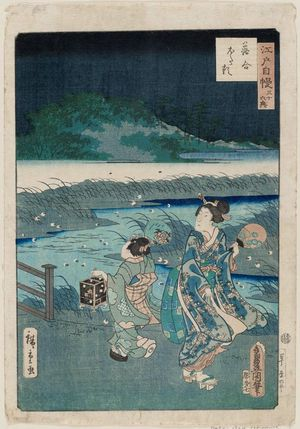 二歌川広重: Fireflies at Ochiai (Ochiai hotaru), from the series The Pride of Edo: Thirty-six Scenes (Edo jiman sanjû rokkei) - ボストン美術館