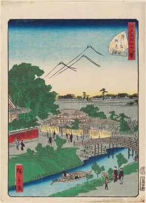 二歌川広重: No. 23, Myôken Temple at Yanagishima (Yanagishima Myôken), from the series Forty-Eight Famous Views of Edo (Edo meisho yonjûhakkei) - ボストン美術館