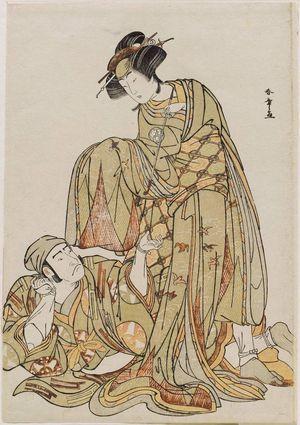 勝川春章: Actors Osagawa Tsuneyo as Onoé-no-Maé and Nakamura Nakazo as Uto - ボストン美術館