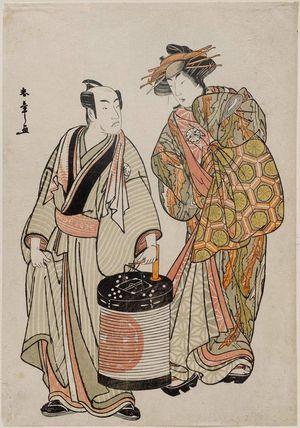 Katsukawa Shunsho: Actors Matsumoto Kôshirô IV as Ikazuchi Tsurunosuke and Segawa Kikonojô III as Nuregami no Kashizuka - Museum of Fine Arts