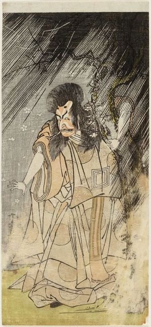 勝川春章: Actor Ichikawa Ebizô II as Raijin - ボストン美術館
