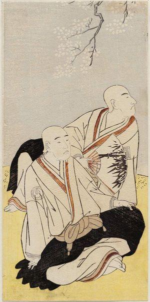 勝川春章: Actors Ichikawa Monnosuke II as Renseibô and Sawamura Sôjûrô III as Sainenbô - ボストン美術館
