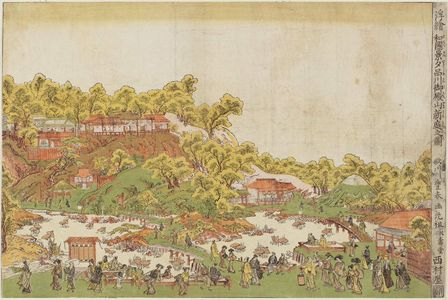 Utagawa Toyoharu: View of the New Garden at Goten-yama in Shinagawa (Shinagawa Goten-yama shintei no zu), from the series Scenes of Japan in Perspective Pictures (Uki-e Wakoku keiseki) - Museum of Fine Arts