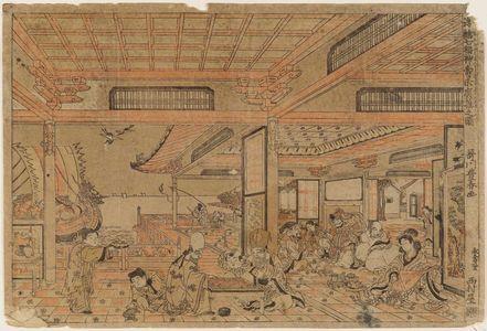 Utagawa Toyoharu: Perspective Picture of the Seven Gods of Good Fortune Enjoying Themselves (Uki-e Shichifukujin kotobuki suehiro asobi no zu) - Museum of Fine Arts