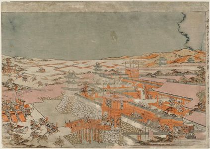 Utagawa Toyoharu: Perspective Picture of Yoshinaka's Battle at Awazu (Uki-e Yoshinaka Awazu kassen no zu) - Museum of Fine Arts