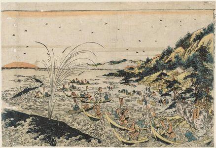 Utagawa Toyoharu: Perspective Picture of Whale Hunting in Kumano Bay (Uki-e Kumano ura kujira tsuki no zu) - Museum of Fine Arts