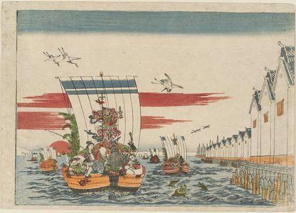 Utagawa Toyoharu: The Seven Gods of Good Fortune with a Fleet of Treasure Boats - Museum of Fine Arts