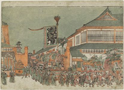 Utagawa Toyoharu: Perspective Picture of a Festival Parade [Imitating a Korean Ambassador's Procession] in Edo (Uki-e Edo gosairei no zu) - Museum of Fine Arts