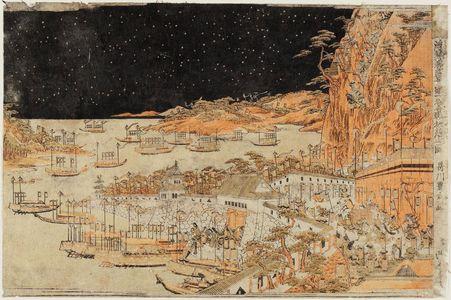 Utagawa Toyoharu: The Downhill Attack at the Battle of Ichinotani (Ichinotani kassen sakaotoshi no zu), from the series Scenes of Japan in Perspective Pictures (Uki-e Wakoku keiseki) - Museum of Fine Arts