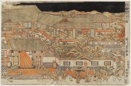 歌川豊春: Perspective PIcture of a Mouse Wedding (Uki-e nezumi yomeiri no zu) - ボストン美術館