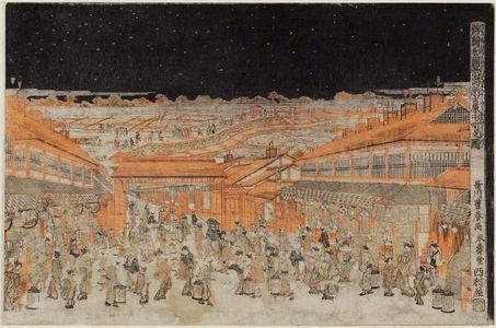 歌川豊春: Naka-no-chô in the New Yoshiwara (Shin Yoshiwara Naka-no-chô no zu), from the series Perspective Pictures of Japanese Scenes (Uki-e wakoku keiseki) - ボストン美術館