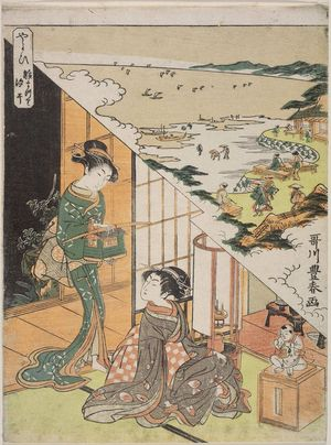 Utagawa Toyoharu: The Third Month: The Doll Festival, Gathering Shellfish at Low Tide (Yayoi, Hinamatsuri, shiohi), from an untitled series of Day and Night Scenes of the Twelve Months - Museum of Fine Arts