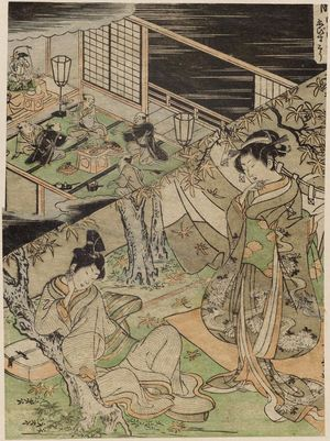 Utagawa Toyoharu: The Tenth Month: Maple-leaf Viewing, Festival of Ebisu (Nagatsuki, Momijigari, Ebisu-kô), from an untitled series of Day and Night Scenes of the Twelve Months - Museum of Fine Arts