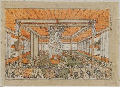 Utagawa Toyoharu: Interior of Ise shrine showing a sacred kagura dance - Museum of Fine Arts