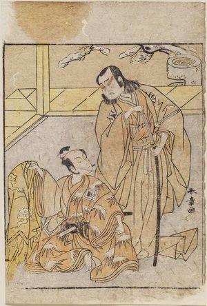 勝川春章: Actors Nakamura Nakazo as Kose no Kanaoka and Ichikawa Yaozo II as Yoshimune Munesada - ボストン美術館