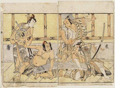 勝川春章: Actors Matsumoto Kôshirô as Hatano Daizen and Ichikawa Yaozô (R), Nakamura Mihoemon as Aramaki Mimishirô and Nakamura Shocho as Ôtomo no Kuronushi (L) - ボストン美術館