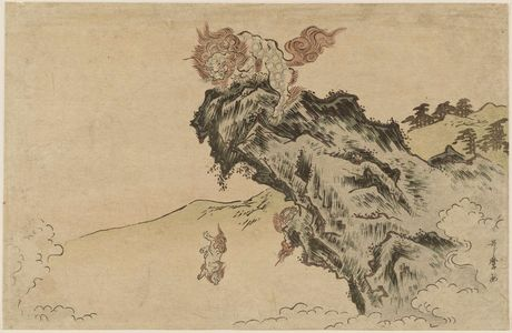 Kitagawa Utamaro: Lion and Cubs on Cliff - Museum of Fine Arts