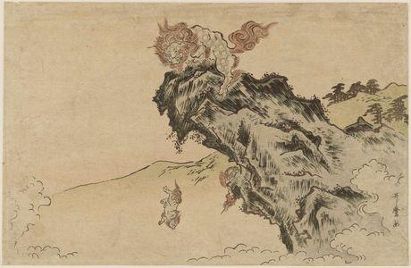 Kitagawa Utamaro: Lion and Cubs on Cliff - Museum of Fine Arts