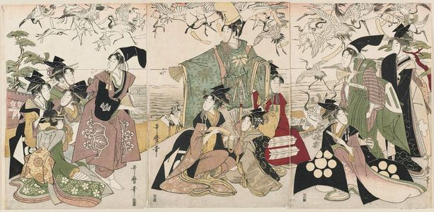 Kitagawa Utamaro: Parody of the Story of Yoritomo Releasing Cranes at Yuigahama - Museum of Fine Arts
