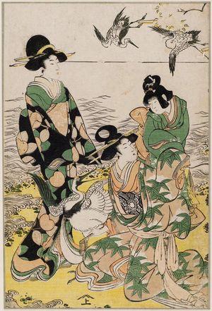 喜多川秀麿: Parody of the Story of Yoritomo Releasing Cranes at Yuigahama - ボストン美術館