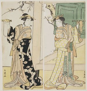 勝川春英: Actors Segawa Kikunojo III (R) and Iwai Hanshirô (L) - ボストン美術館
