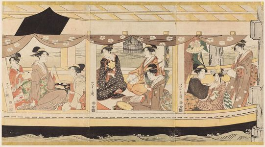 Hosoda Eishi: Party on the Pleasure Boat Kawaichimaru - Museum of Fine Arts