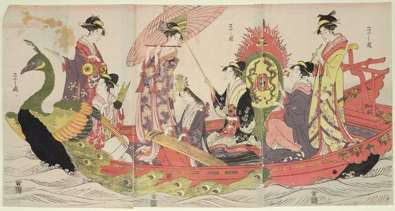 Hosoda Eishi: Women Playing Music in a Peacock Boat - Museum of Fine Arts