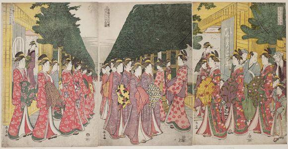 長喜: Faithful Depiction of the House Kimono Patterns Worn by Yoshiwara Courtesans Paying Holiday Visits on the Second Day of New Year (Seirô shôgatsu futsuka nenrei shikise kosode moyô shôsha no zu) - ボストン美術館