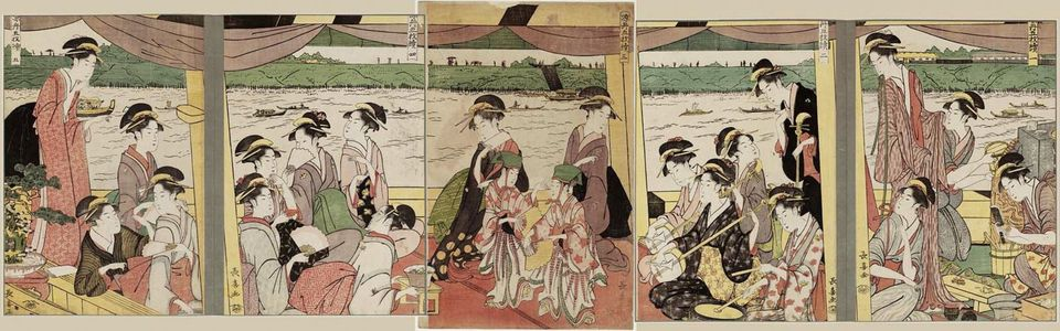 Eishosai Choki: Enjoying Cool Air on a Pleasure Boat, a Pentaptych (Suzumibune gomai tsuzuki) - Museum of Fine Arts