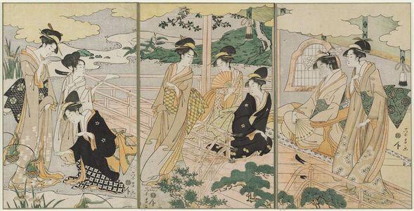 鳥高斎栄昌: Women in an Iris Garden; Parody of the Kagaribi Chapter of the Tale of Genji - ボストン美術館