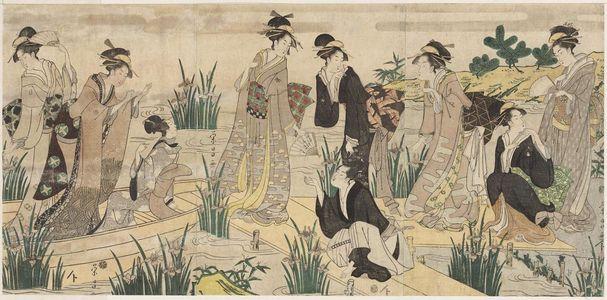 鳥高斎栄昌: Women Imitating the Yatsuhashi Episode of Tales of Ise (Ise monogatari) - ボストン美術館