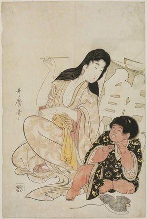 喜多川歌麿: Yamauba and Kintarô with a Kite Inscribed