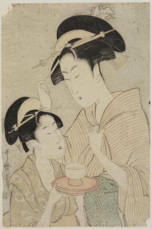 Kitagawa Utamaro: Two Beauties, One Holding a Teacup, the Other Fingering her Hairpin - Museum of Fine Arts