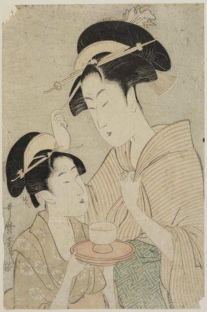喜多川歌麿: Two Beauties, One Holding a Teacup, the Other Fingering her Hairpin - ボストン美術館