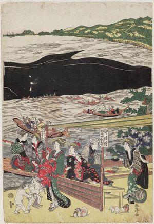 Katsukawa Shuntei: Whale in the Bay at Shinagawa as Seen from Takanawa (Shinagawa oki no kujira Takanawa yori miru zu) - Museum of Fine Arts