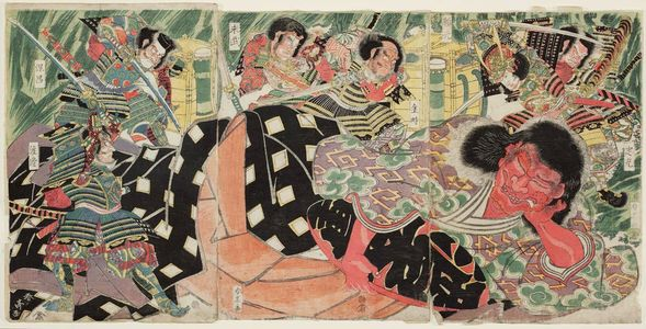 勝川春亭: Minamoto Yorimitsu (Raikô) and His Men Killing the Shutendôji - ボストン美術館