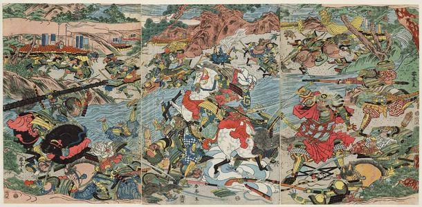 勝川春亭: Battle of Kawanakajima? - ボストン美術館